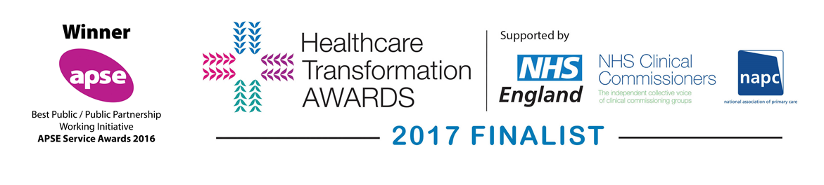 Awards logos - APSE service awards 2016 winner and Healthcare Transformation Awards 2017 finalist